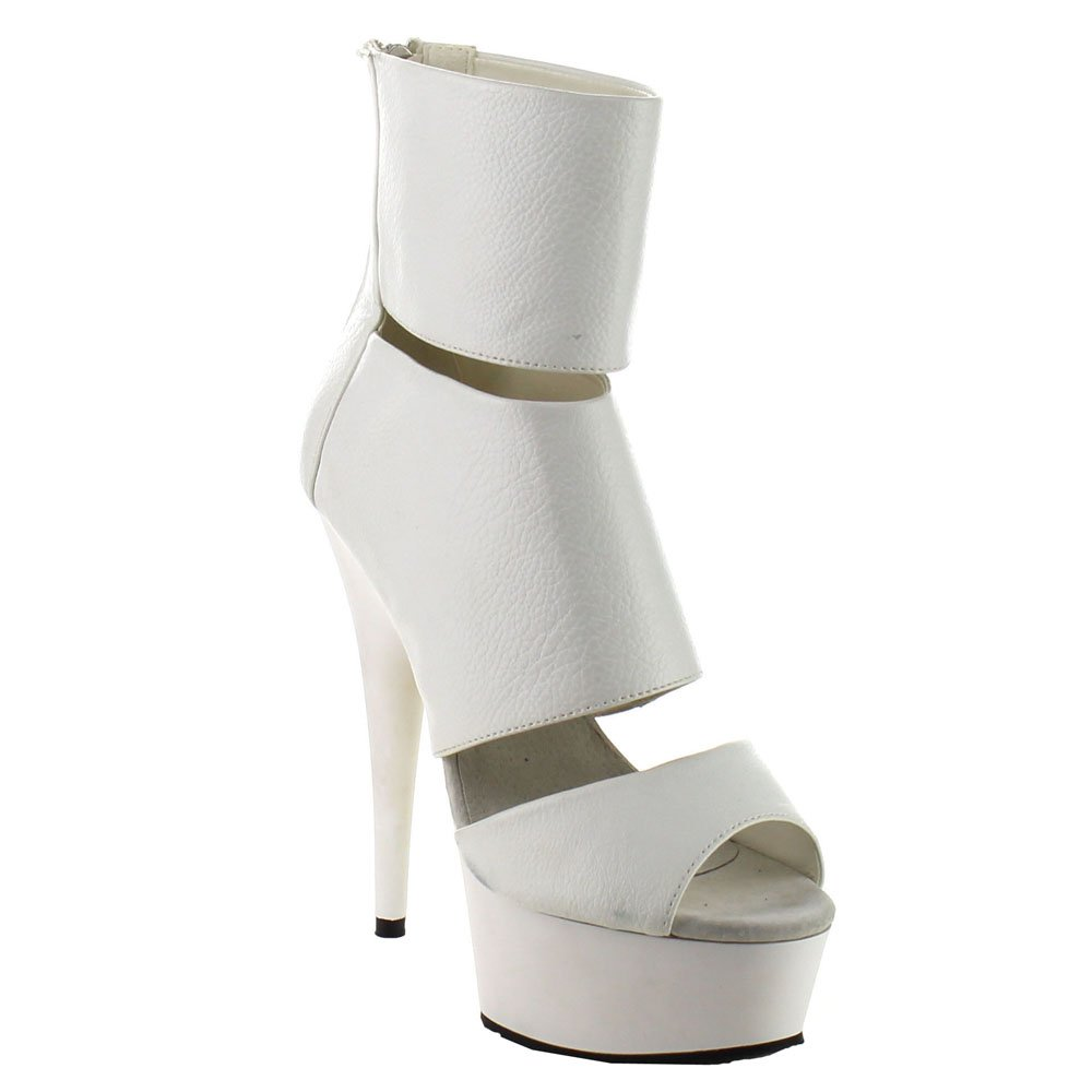 Pleaser Women's Del600-16/Bpu/m Ankle Bootie B00XLDL552 7 B(M) US|White Pu / White