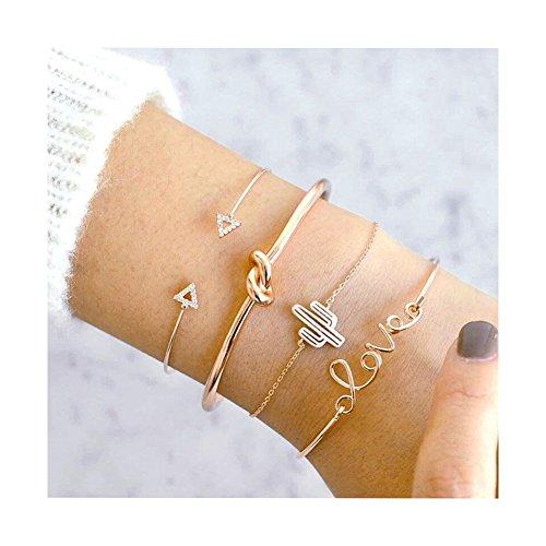 Ever Fairy Layered Bracelet Set Love Knot Tassel Bracelet Multiple Stackable Wrap Bangle Jewelry Adjustable (Cactus)