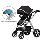 2016 New Style! Summer Deal! H&A 3in1 Luxury City Select High View Anti-Shock Folding Baby Stroller,Travel System Infant Carriage Buggy Bassinet,FREE Second Blue Canopy (Blue&Black), Silvery Frame