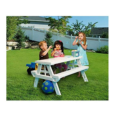 - White foldable Children's Picnic Table 600 lbs plastic compact durable