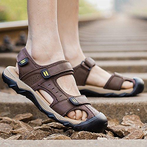 Extra Escursionismo L'esterno 48 Sandali Cuoio Toe di DSFGHE Spiaggia Pattini Brown 38 Estate Sport Scarpe Uomo Large di Size della Closed Sandali Reali per Uomo wnxqUCqOH