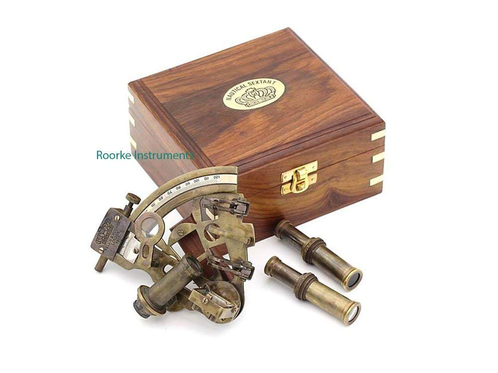 Roorkee Antique Sextant for Navigation/Marine Brass Sextant Instrument for Ship/Celestial & Nautical Sextant with Two Extra Sighting Telescope/Astrolable Sextant Tool with Wooden Box Case by ROORKEE INSTRUMENTS (INDIA) A NAUTICAL REPRODUCTION HOUSE