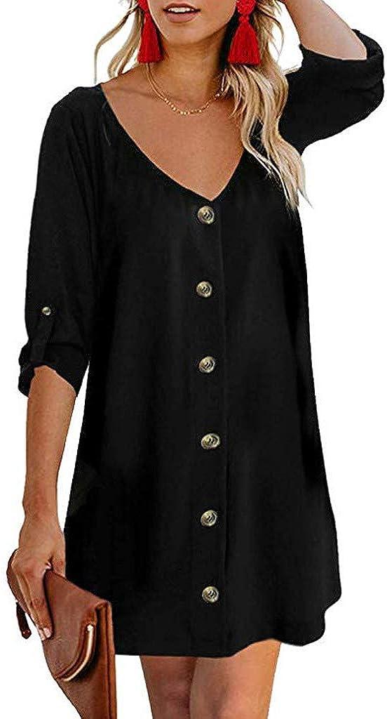 Flowy Button Down Tunic Dress,JKioleg 3//4 Sleeve V Neck Mini Casual Solid Plain Dresses Blouse for Beach