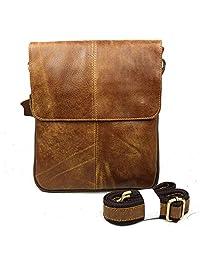 SUNVP Cowhide Leather Cross Body Purse Casual Satchel Shoulder Messenger Bag for Men and Women, Brown