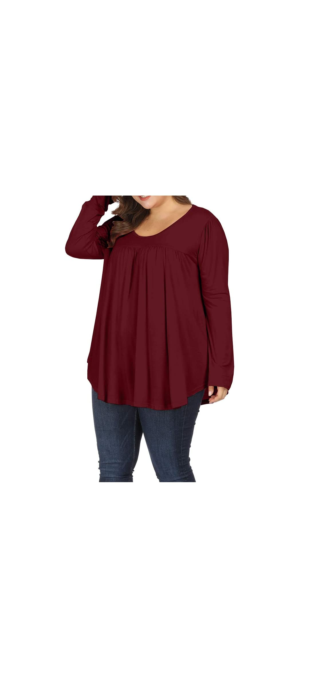 Women Plus Size Casual Pleated Long Sleeve Blouse Top