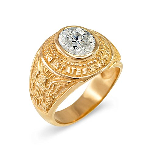 April CZ Birthstone US Army Men's Ring in Solid 10k Yellow Gold (Size - 10k Ring Army Gold