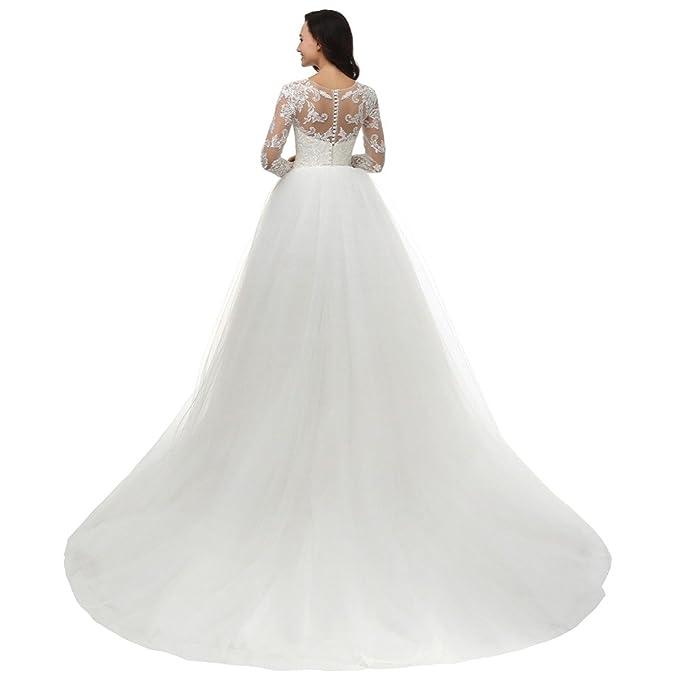 dobelove Mujer Corpiño de encaje sirena para vestido de novia (con cola desmontable
