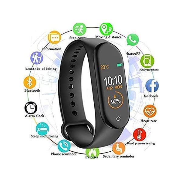 51Mv1W2nunL Gadget Galaxy M4 Smart Band Fitness Tracker Watch Heart Rate with Activity Tracker Waterproof Body Functions Like Steps…