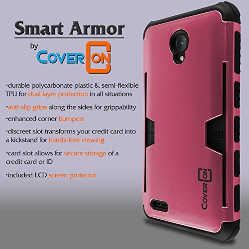 Alcatel Go Play Case, One touch Conquest Case, CoverON Smart Armor Series Slim Protective Corner Bumpers and Screen Protector for Alcatel One Touch Go Play / Conquest - Hot Pink / Black