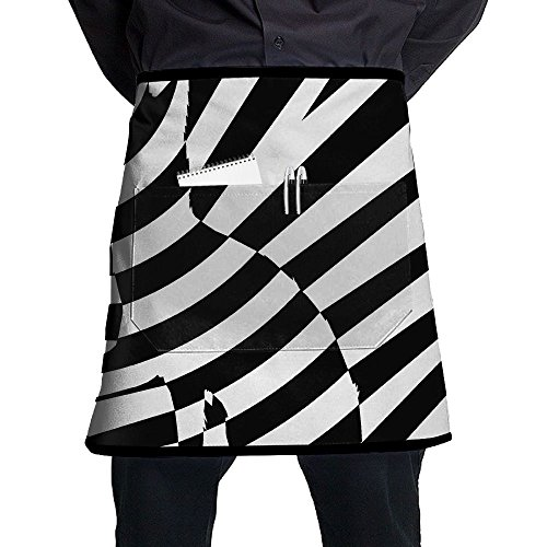 Pocket Waist Apron For Men & Women,A Black-And-White Striped Cat Waist Tie Half Bistro Apron With 2 Pockets For Chef, Baker, Servers, Waitress, Waiter ()