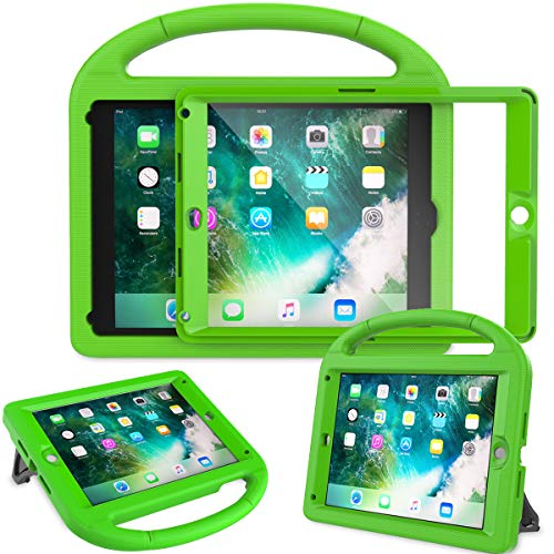 AVAWO Kids Case for New iPad 9.7 2018 & 2017 - Built-in Screen Protector Shockproof Case Convertible Stand with Handle for iPad 9.7 Inch (2018 6th Gen) & (2017 5th Generation) - Green
