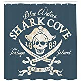 Ambesonne Pirate Shower Curtain, Shark Cove Tortuga Island Caribbean Waters Retro Jolly Roger, Fabric Bathroom Decor Set with Hooks, 84 Inches Extra Long, Slate Blue White Light Mustard