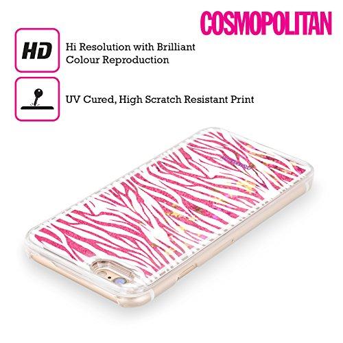 Official Cosmopolitan White Zebra Animal Skin Patterns Hot Pink Liquid Glitter Case Cover for Apple iPhone 6 / 6s