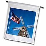 Danita Delimont - Randa Bishop - Windmills - Nelis Dutch Village Dutch windmill, US flag, Michigan, USA - 12 x 18 inch Garden Flag (fl_191761_1)