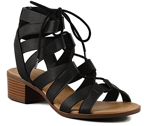 - CITY Classified Mousse Strappy Lace up Low Heel Sandal Black 8