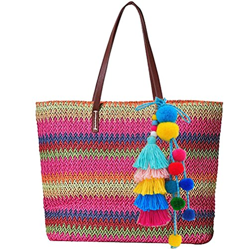 Abuyall Women Tassel Big Casual Pu leather Bucket Zip Vintage Woven Colorful Straw Handbag Bohemian Style Shoulder bag With Pompom Pendant Pt2
