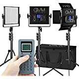 GVM LED Video Light,3 pack,CRI97+,Wireless Control,Memory Function, for video lighting,Studio,YouTube,Product Photography,Video Shooting,adjustable Bi- color,LCD Large Display,Durable Aluminum U-frame