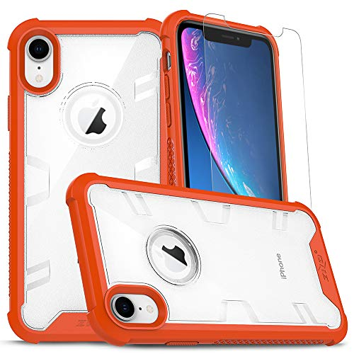 Zizo Proton Series Compatible with iPhone XR Case Military Grade Drop Tested with Tempered Glass Screen Protector Orange Clear