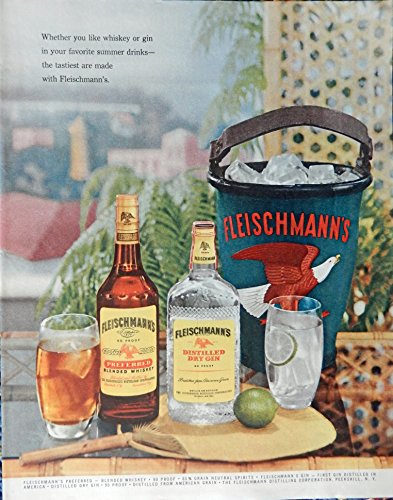 Fleischmann's Gin and Whiskey, 50's Print ad. Full page Color Illustration (ice bucket) Authentic original Vintage 1955 Collier's Magazine Print Art