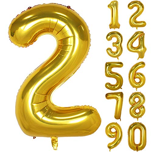40 Inch Gold Numbers 0-9 Birthday Party Decorations Helium Foil Mylar Number Balloon Digital 2
