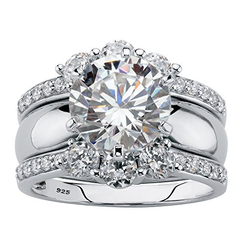 Platinum over Sterling Silver Round Cubic Zirconia 2 Pair Solitaire Jacket Bridal Ring Set Size 8