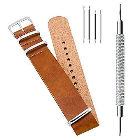 CIVO Synthetic Leather NATO Zulu Military Swiss G10 Watch Band Strap 18mm 20mm 22mm with Stainless Steel Buckle