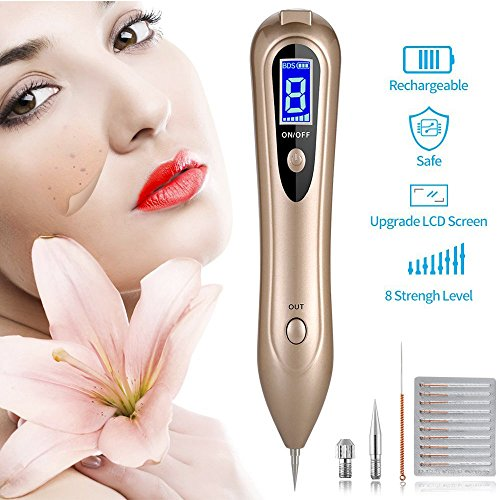 Herwiss Mole Remover Machine, Professional Skin Tag Remover Mole Removal Pen, LCD Display Spot Eraser Pro with Newest 8 Gears Adjustable Power & Portable USB (Skin Eraser)