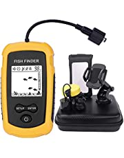 Portable Fish Finder,Fish Finders & Depth Finders with Hard Travel Case,Fish Finders for Boats with Sonar Sensor Transducer and LCD Display,Fish Finder for Kayaks,Fish Finder for Ice ,River,Shore,Sea