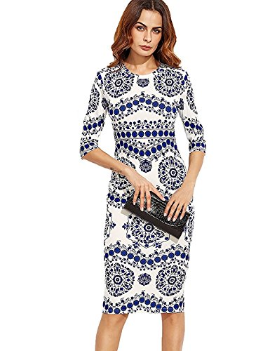 Floerns Women's Porcelain Print Work Sheath Business Pencil Dress Medium Blue