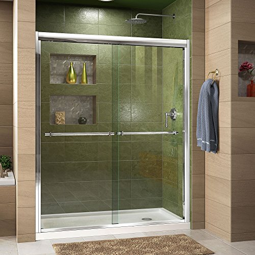 DreamLine Duet 36 in. D x 60 in. W x 74 3/4 in. H Semi-Frameless Bypass Shower Door in Chrome and Right Drain Black Base