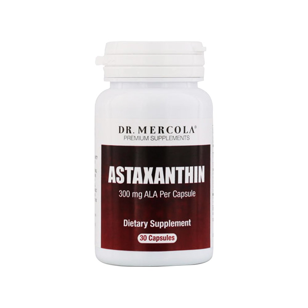 Dr. Mercola Astaxanthin - 30 Capsules - 4mg Astaxanthin, 300mg ALA - Natural Antioxidant: Reduces Free Radicals - Supports Cardiovascular, Nervous & Immune Systems - Improves Aging, Skin, Joints, Eyes