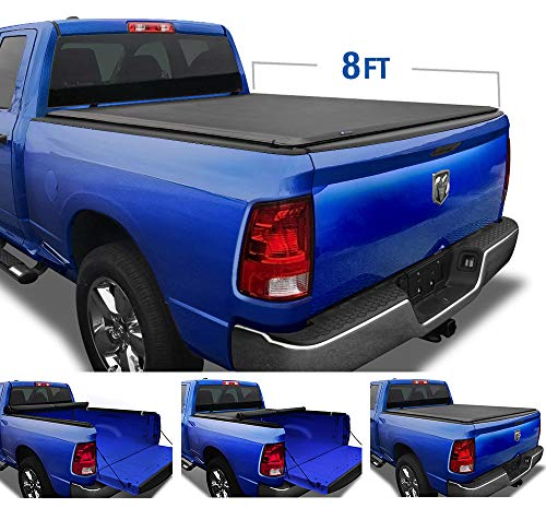 Tyger Auto TG-BC1D9015 Black T1 Roll Up Truck Tonneau Cover Works with 2002-2018 Dodge Ram 1500 2019-2020 Classic 2003-2018 2500 3500 Fleetside 8' Bed Without RamBox