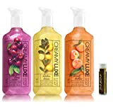 BLACK CHERRY MERLOT, KITCHEN LEMON & PEACH BELLINI Bath & Body Works Pack of 3 Gift Set of Creamy Luxe Hand Soap with a Jarosa Chocolate Bliss Lip Balm by Jarosa Gifts
