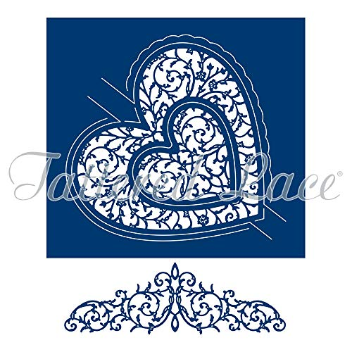 Tattered Lace Swing Heart, Metal, Silver, 14.7 x 4.8 x 0.03 cm