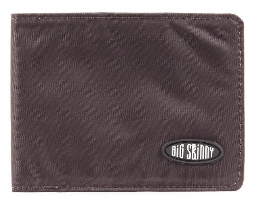 Big Skinny Men's Slimline Bi-Fold Slim Wallet, Holds Up to 25 Cards, Brown
