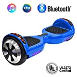 NHT 6.5'' Hoverboard Electric Self Balancing Scooter Sidelights - UL2272 Certified Black, Blue, Pink, Red, White (102 Blue)