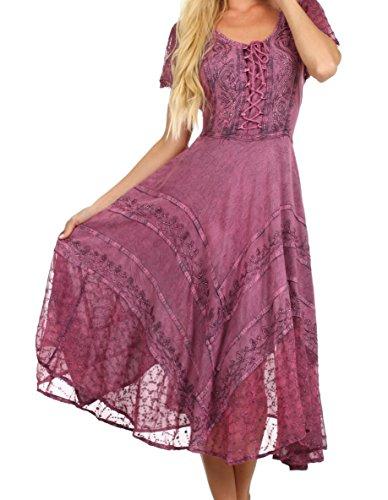 [Sakkas 1322 - Sakkas Marigold Embroidered Fairy Dress - Orchid - L/XL] (Pink Renaissance Dress)