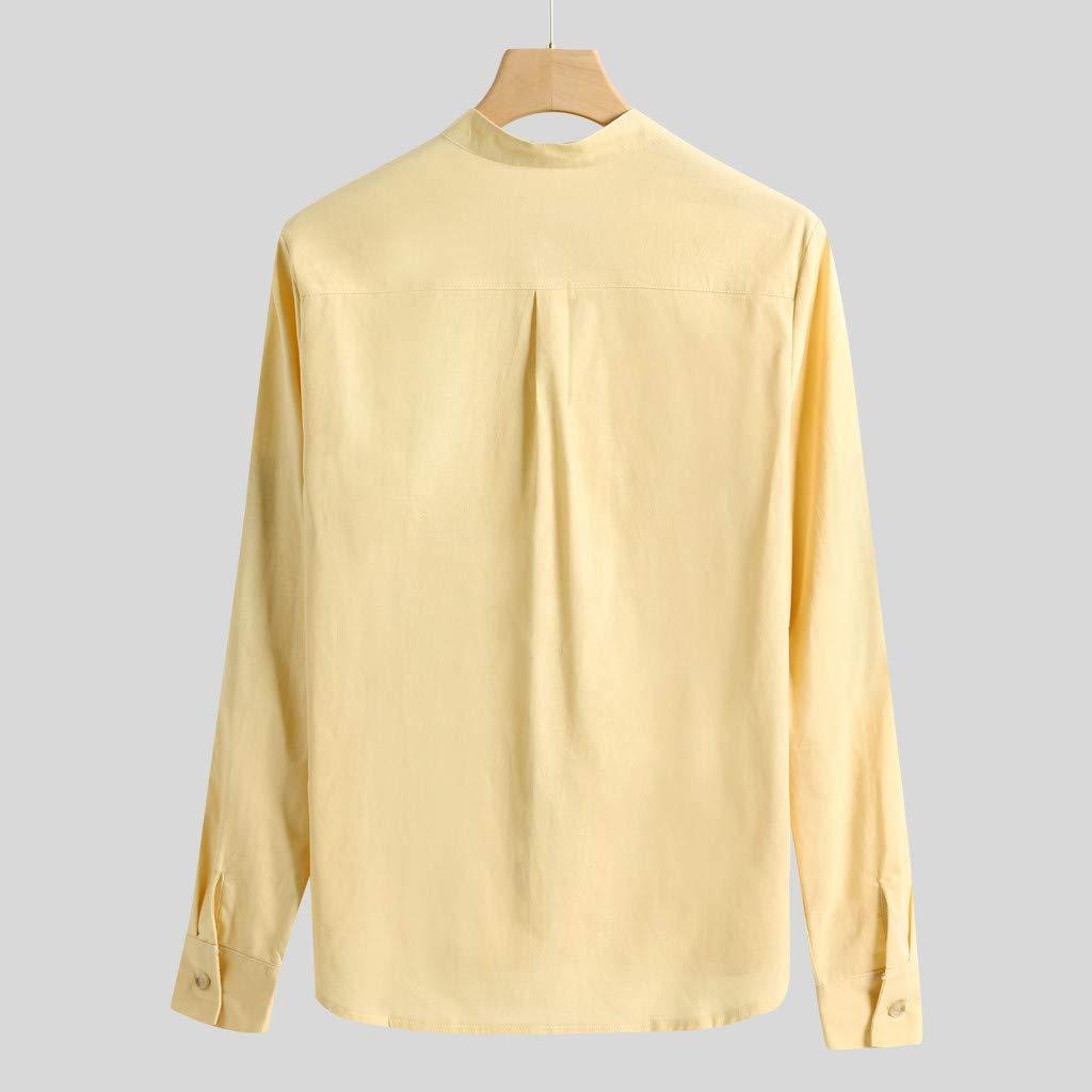 Camisa para hombre de lino de algodón con cuello en V ...