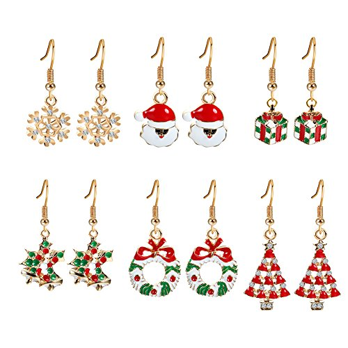 Thanksgiving Themed Party Costumes (Akvode 6 Pairs Christmas Dangle Earrings Set for Women Girls with Red Wreath Santa Claus Stockings White Snowman Xmas Snowflake Christmas Tree Thanksgiving Themed Gifts (61178130))