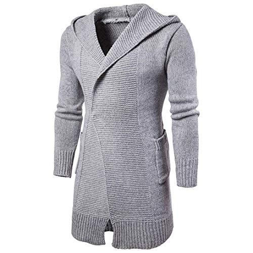 À Couleur Tricoté Slim Printemps Grau Manches Long Manteau Pour Hommes Longues Capuche coat Unie Fashion Fit Chic Trench Cardigan Veste Automne Zx51wqnA