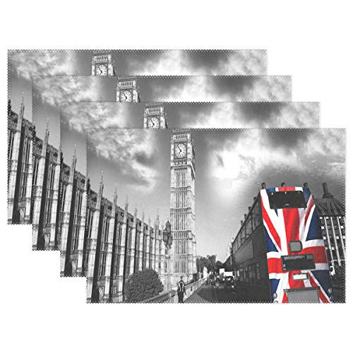 NMCEO Place Mats London Bus Personalized Table Mats for Kitchen Dinner Table Washable PVC Non-Slip Insulation Set of 4 ()