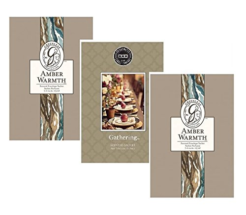 Greenleaf Bridgewater Pack of 3, Cosy Selection 2 Amber Warmth 1 Gathering Scented Sachets