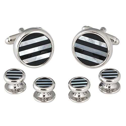 Mens Striped Onyx Mother of Pearl Tuxedo Cufflinks Studs (That Don't Spin) with Presentation Box ()