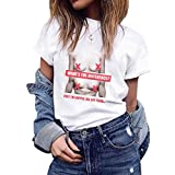 TIFENNY Women Student Casual Crewneck Tops Summer Print Concise Classic Short Sleeve Tee Shirts Blouse White