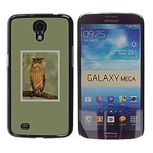 Plumas Branch Búho alas verdes de primavera- Metal de aluminio y de plástico duro Caja del teléfono - Negro - Samsung Galaxy Mega 6.3