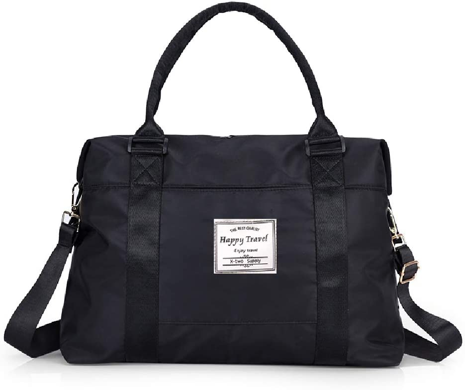 AUSTARK Travel Tote Duffel Bag Large Canvas Weekender Handbag with Trolley Sleeve for Women Men Upgraded Version Black