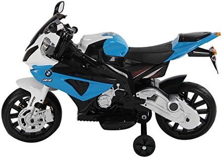 homcom Moto Elettrica Compatibile con BMW per Bambini velocità 2.5-5Km/h con Rotelle e Luci 110 × 47 × 69cm Nero-Blu