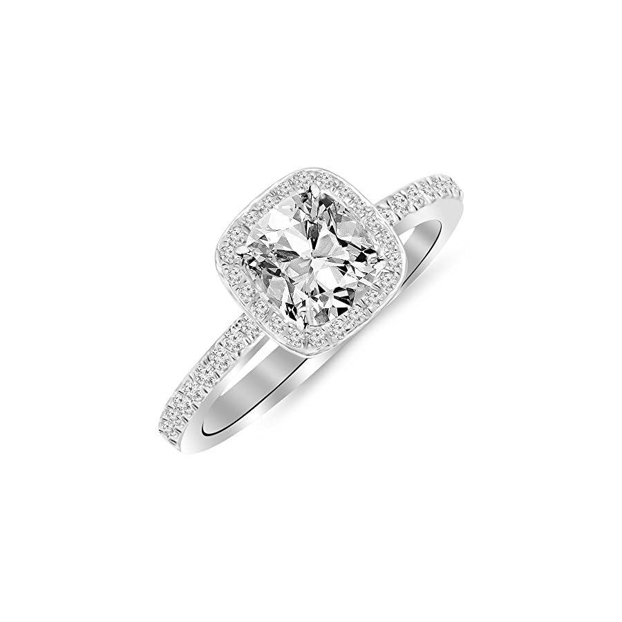 1.25 Ctw 14K White Gold GIA Certified Cushion Cut Classic Halo Style Cushion Shape Diamond Engagement Ring, 1 Ct I J VS1 VS2 Center
