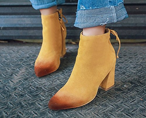 Carolbar Womens Pointed Toe Zip Retro Lace Up High Heel Short Boots Yellow GUysJ
