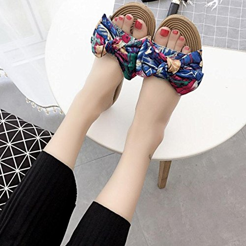 Women's Printed Bowknot Flip Flops Beach Sandal And Slippers - UK 6.5 / EUR 40 iK9pM